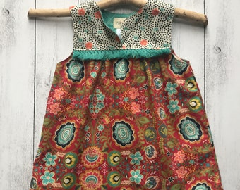 Gypsy Rose Sleeveless Dress - Red and Teal with Teal boho Trim, SIZES 1,2,3,4,5,6