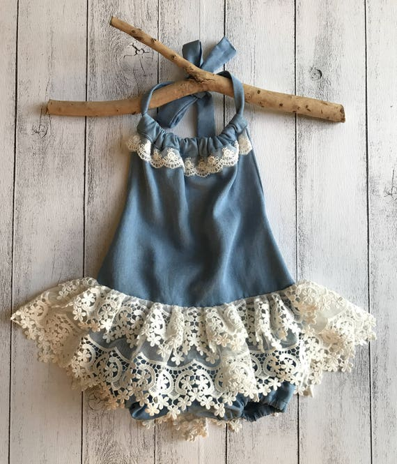 c50f77735ae SIZE 2 Halter Tutu Romper Chambray with Lace skirt