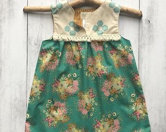 Gypsy Rose Sleeveless Dress - Green floral with cream striped bodice, cream boho Trim, SIZES 1,2,3,4,5,6