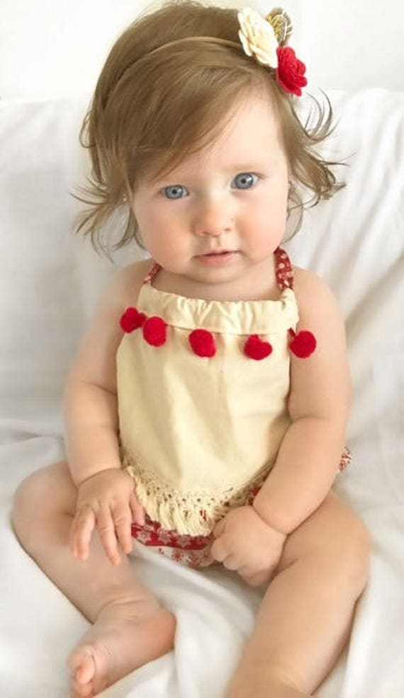 a4c840ecd8e Size 00 Baby Girl Christmas Halter Boho Romper Cream and