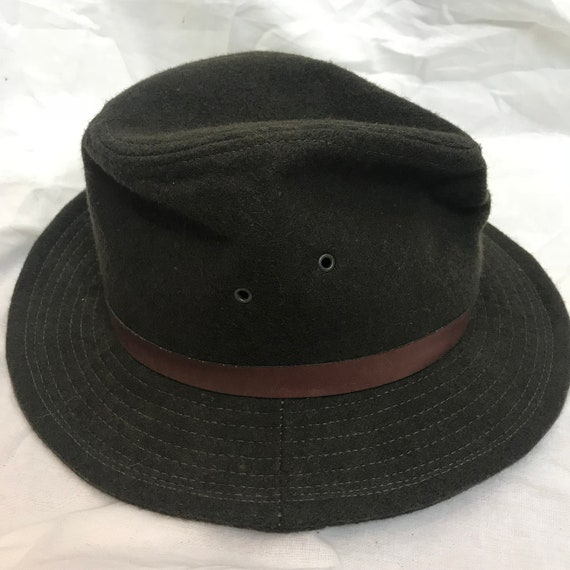 12af7eb3b93e6 Vintage Wool Felt Olive Green Fedora Hat Union Made USA Size