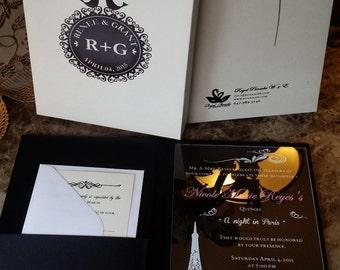Single Pocket Luxury Acrylic Invitation Set