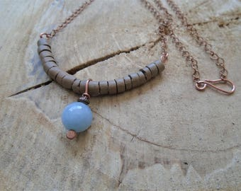 Aquamarine necklace, coconut, and copper / / Bohemian / / nature jewelry