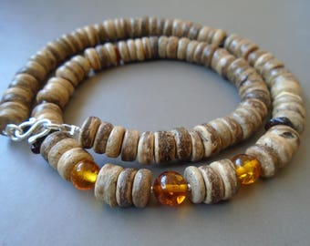 Amber, coconut wood and silver necklace nature Jewelry Sterling
