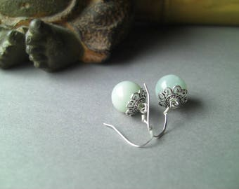 Earrings * ball * Amazonite and Sterling Silver 925