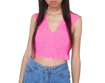 769b03194e Vintage 90s Pastel Pink Lace Bralette Top M
