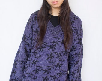 90s Floral Knit Jumper Sweater XL -purple, black, christmas, grunge, gothic, clueless, boho, aesthetic, indie-