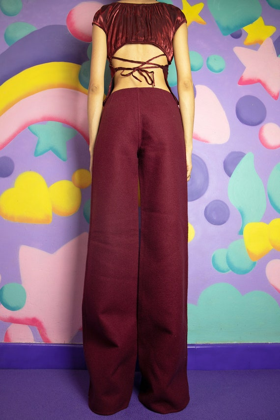 90s Maroon Red Wool Wide Leg Pants Extra Long Sil… - image 6