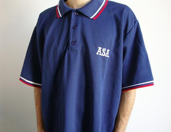 55ace99d2e1a 90s Blue Polo tshirt XXXL asa vaporwave navy softball