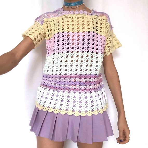 90s Pastel Rainbow Knitted Top Crochet Pink Purpl… - image 3