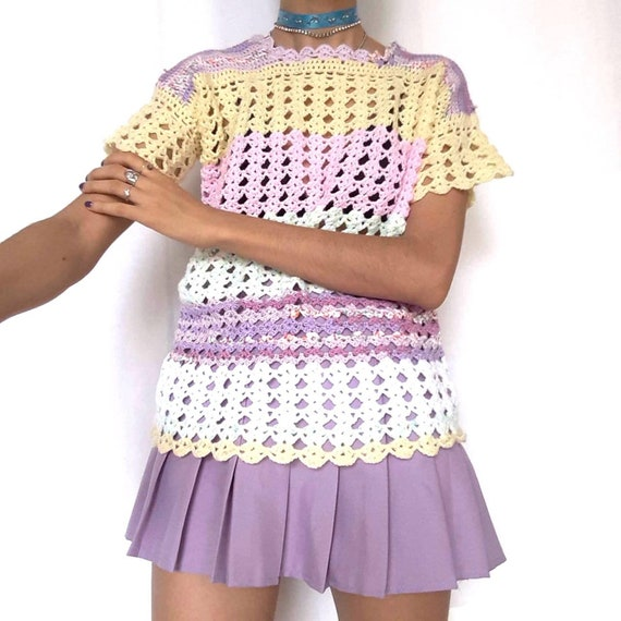 90s Pastel Rainbow Knitted Top Crochet Pink Purpl… - image 5