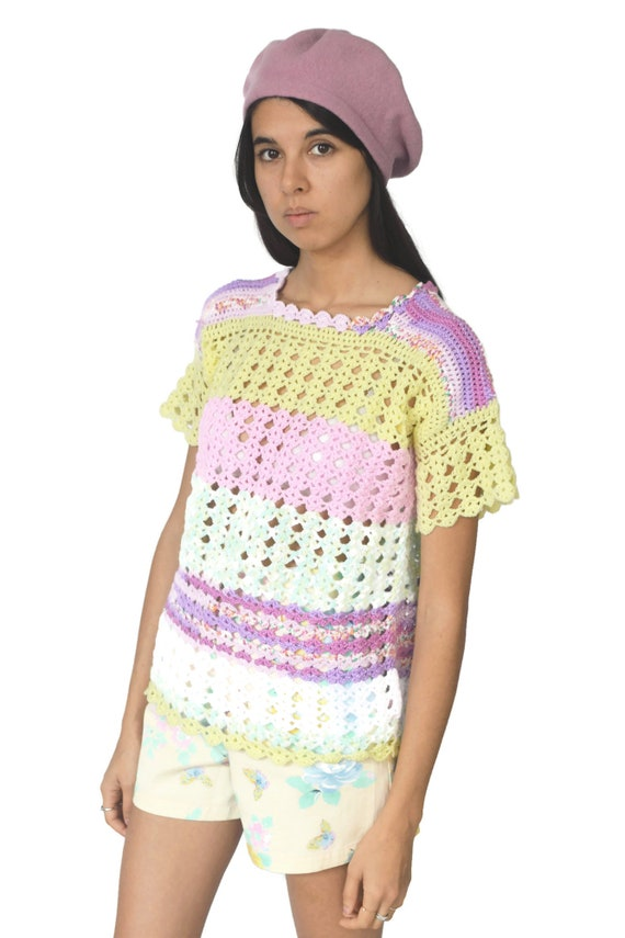 90s Pastel Rainbow Knitted Top Crochet Pink Purpl… - image 6