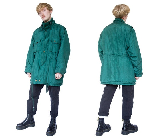 90s Green Coat Silk Jacket Grunge Army Winter Ove… - image 1