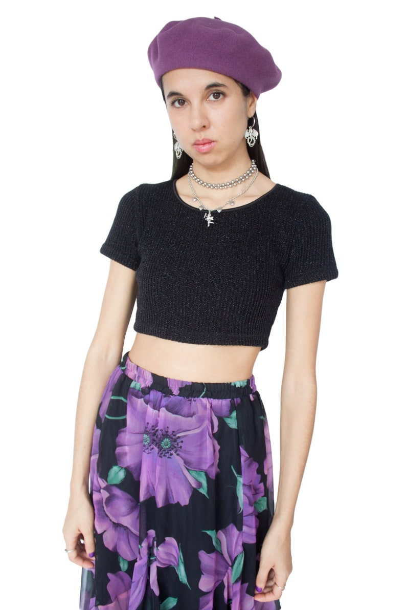 4829a079859194 Vintage 90s Black Knitted Crop Top XS