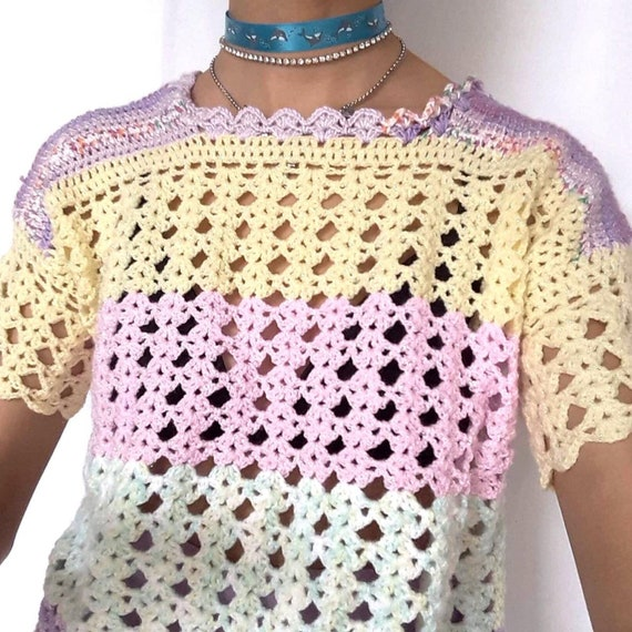 90s Pastel Rainbow Knitted Top Crochet Pink Purpl… - image 2