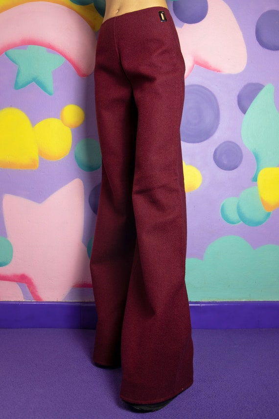 90s Maroon Red Wool Wide Leg Pants Extra Long Sil… - image 5