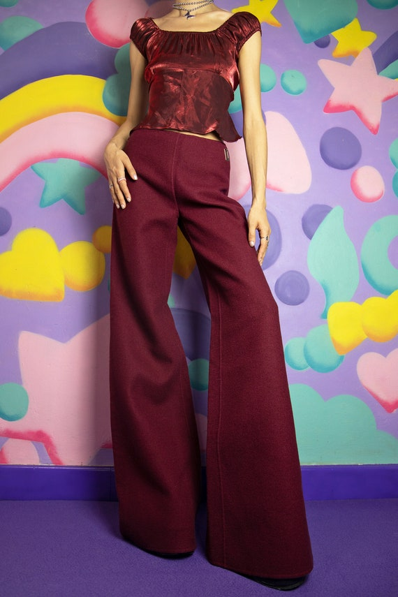 90s Maroon Red Wool Wide Leg Pants Extra Long Sil… - image 2