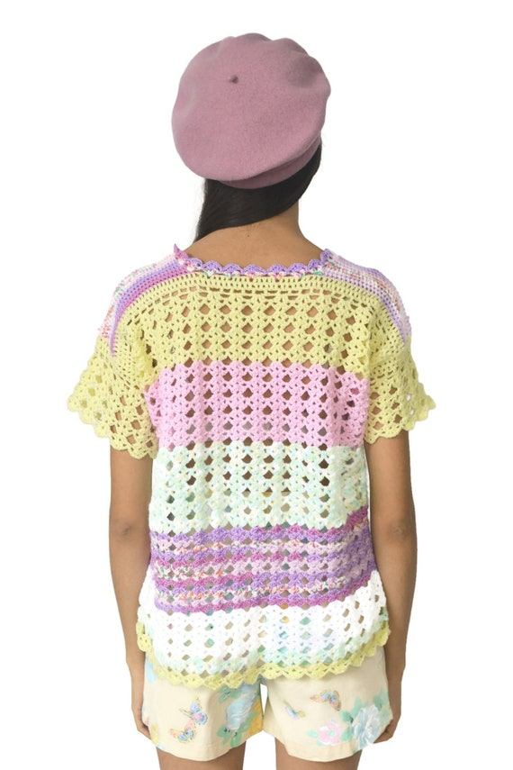 90s Pastel Rainbow Knitted Top Crochet Pink Purpl… - image 7