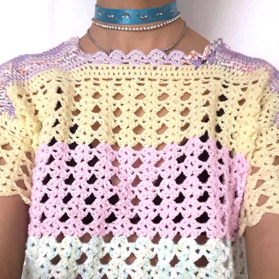 90s Pastel Rainbow Knitted Top Crochet Pink Purpl… - image 4