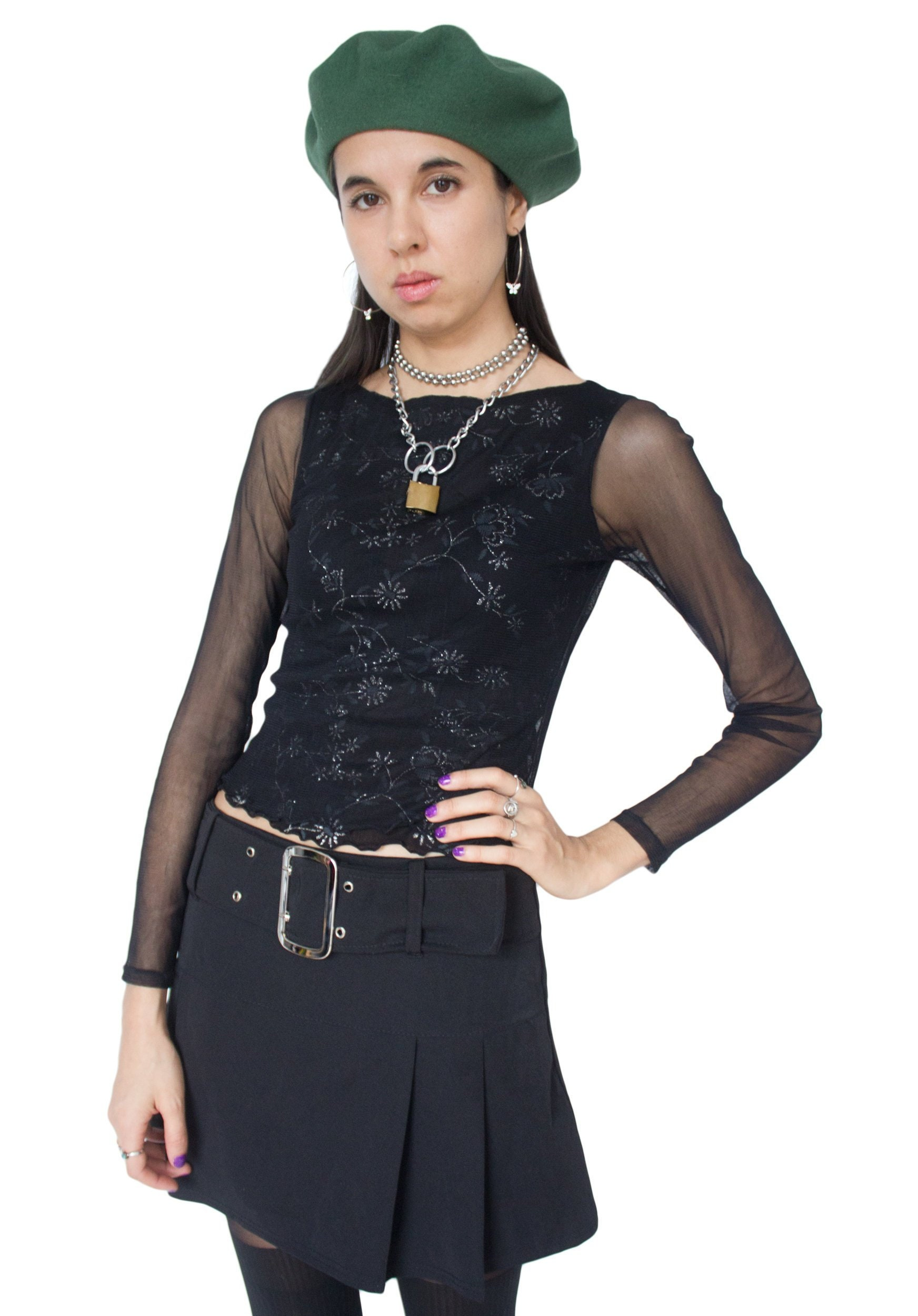 00fbe56d72d1e Vintage 90s Black Mesh Floral Long Sleeve Top S