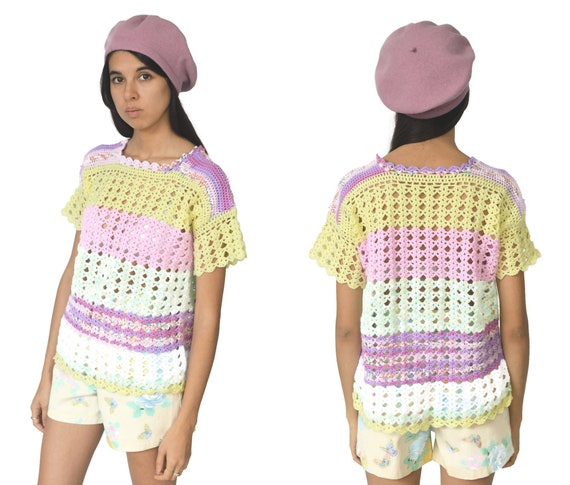 90s Pastel Rainbow Knitted Top Crochet Pink Purpl… - image 1