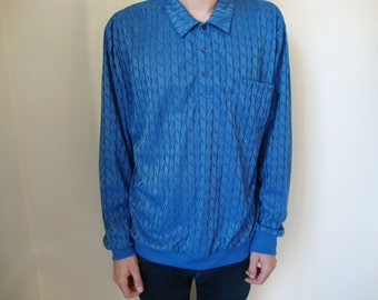 90s Blue Sweater XL -abstract, basic, jumper, sweatshirt, long sleeves, grunge, indie-