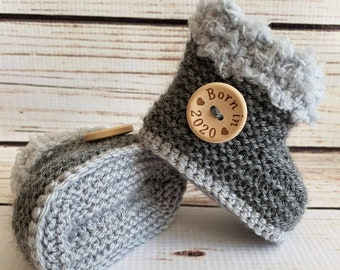Hand Knitted Baby Booties//Boots//Slippers Sheepskin Style Button Soft 0-12M