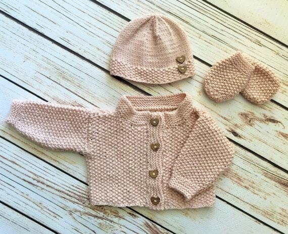 d2bf0ad75ff Baby Boy Hand Knit Crochet Cardigan Beanie Hat   Mittens Set