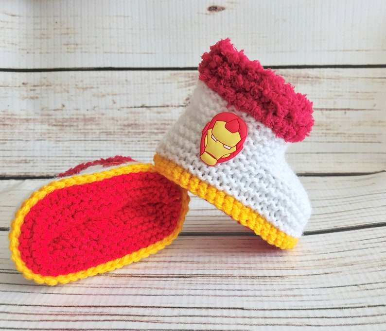 1a31409538143 Hand Knitted Baby Boy Booties/Boots/Slippers/Shoes Iron Man Marvel Soft  Tops 0-12M UK Seller Superhero