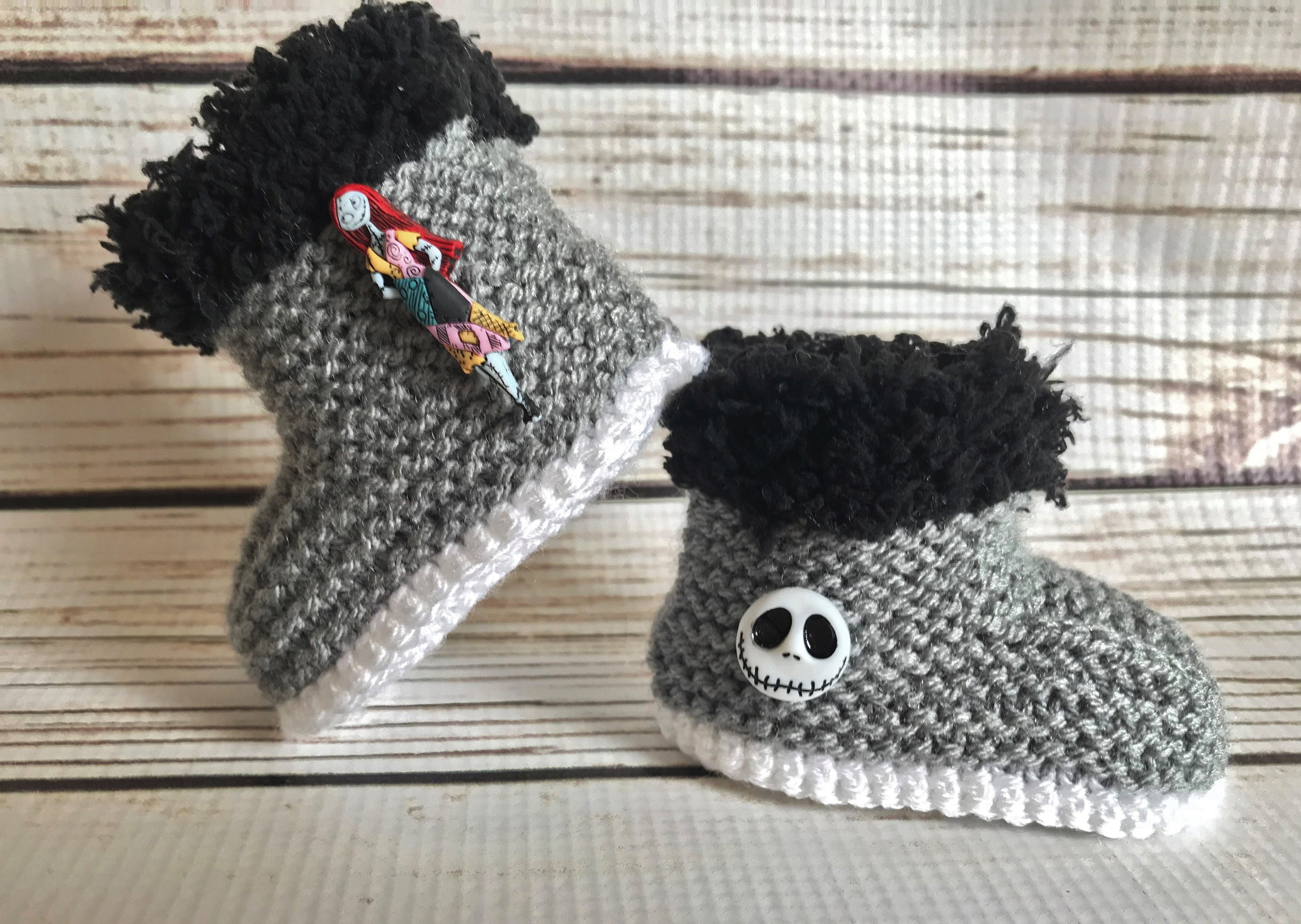 Hand Knitted Goth Baby Booties / Boots/Shoes Nightmare Before | Etsy