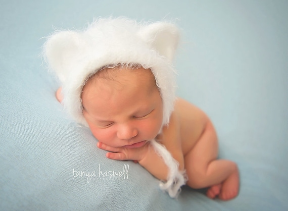 72a4d152992 Hand Crochet Baby Bonnet Hat Teddy Bear Brushed Chunky