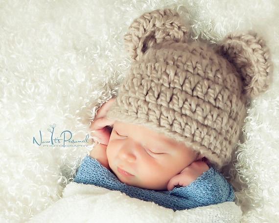 Hand Crochet Knitted Baby Hat Paper Boy Girl Peaked Cap Photo Prop Newborn 12M