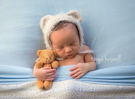 Hand Crochet Knitted Baby Hat Teddy Bear Chunky Photo Prop Boy Girl Newborn-12M