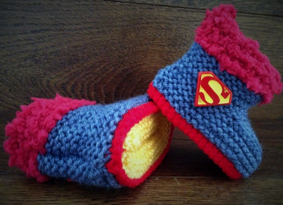 ef1509a93cc62 Hand Knitted Baby Boy Booties/Boots/Slippers/Shoes Denim Superman Red Soft  Tops 0-12M UK Seller
