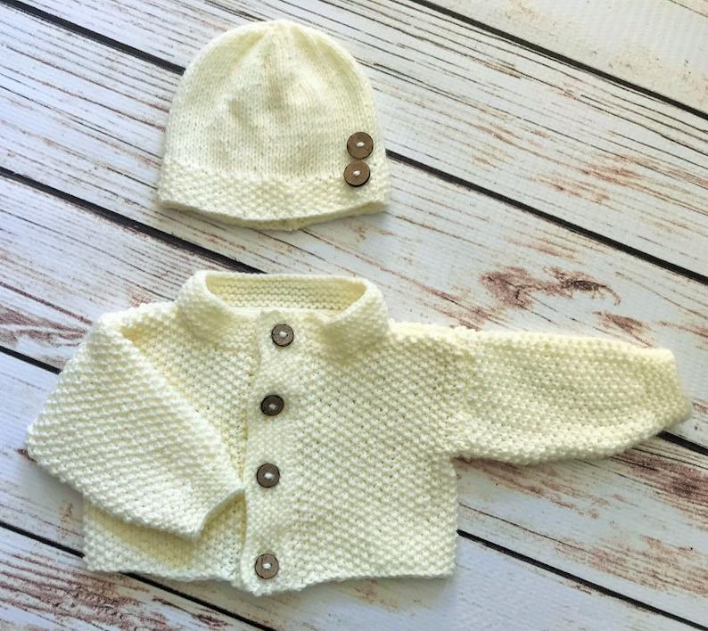 d0ff60fb91f1 Baby Boy Girl Unisex Hand Knit Crochet Cardigan Beanie Hat | Etsy
