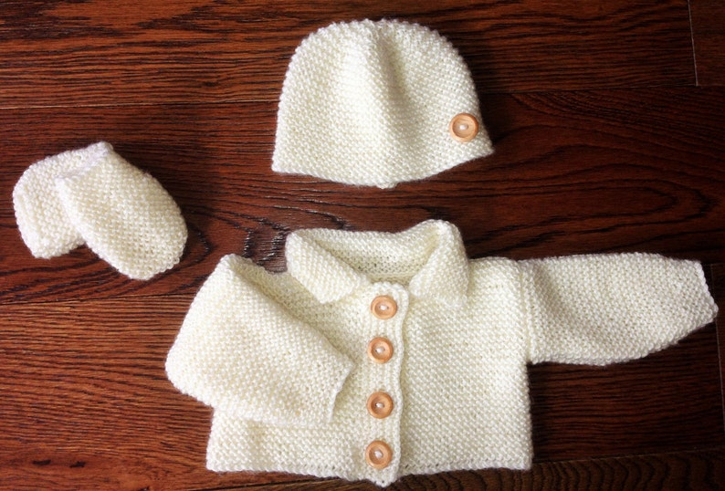 c11b50577b67 Early Baby Boy Girl Hand Knit Crochet Cardigan Beanie Hat & | Etsy