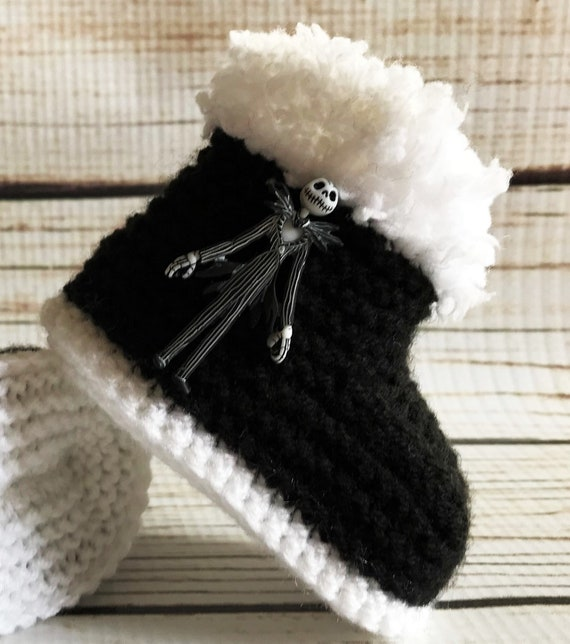 Baby Goth Hand Knitted Jack Zero Booties Boots Nightmare Before Christmas 0-12M