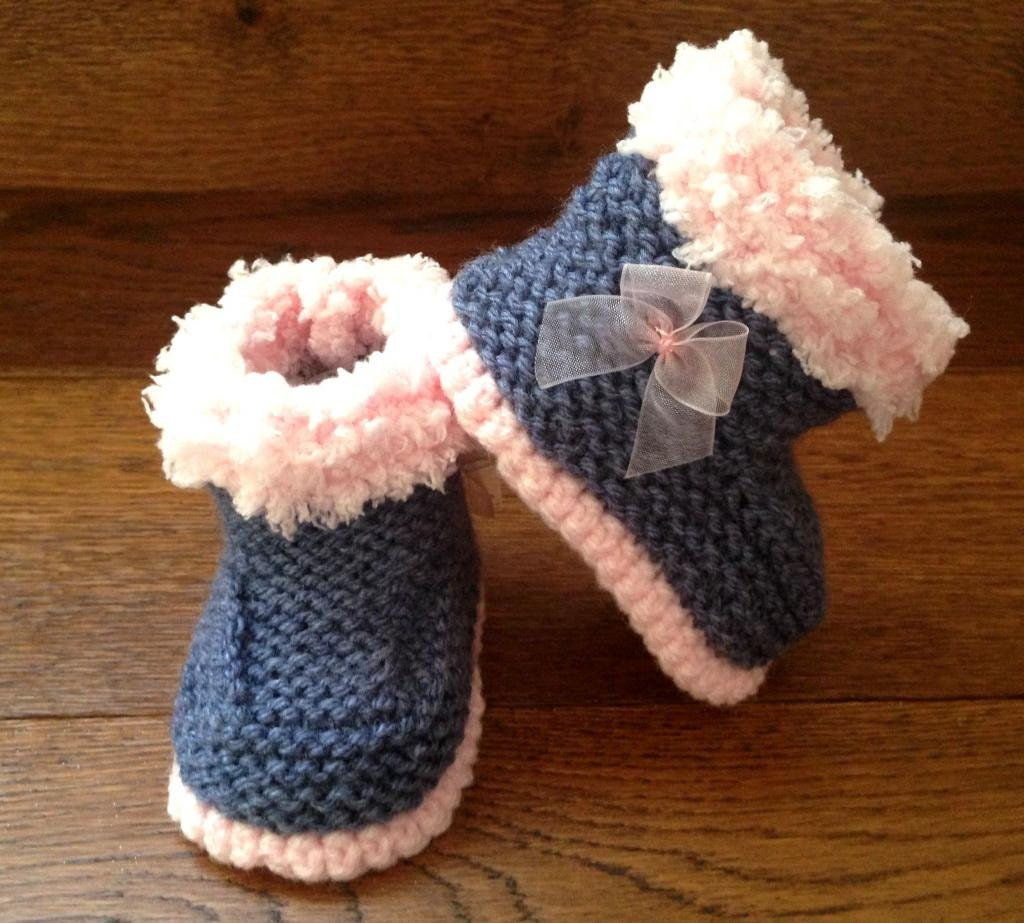 68314301f0501 Hand Knitted Baby Booties/Boots/Slippers/Shoes Denim with Bow Soft Tops  0-12M UK Seller