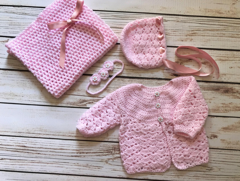 1acf9eb61b8e Baby Girl Hand Knit Crochet PREMIUM Cardigan Bonnet