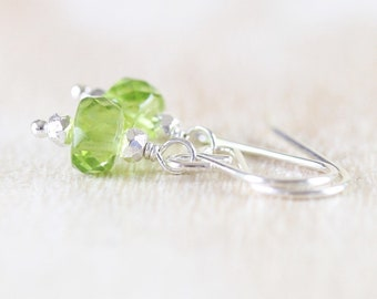 Natural Peridot Dainty Drop Earrings in Sterling Silver, 18Kt Gold or Rose Gold Filled. Green AAAA Gemstone Small Dangle Earrings for Women