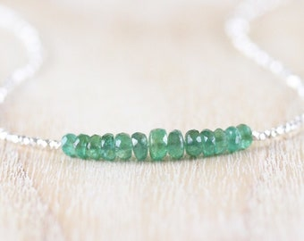 Zambian Emerald, Sterling & Fine Silver Necklace. Delicate Gemstone Choker. Dainty Tiny Beaded Layering Jewelry for Women. Karen Hill Tribe