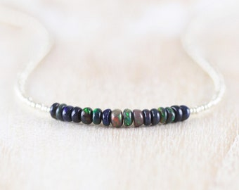 Black Opal, Czech Seed Bead & Sterling Silver Necklace. Delicate Ethiopian Welo Opal Choker. Dainty Tiny Beaded Layering Jewelry for Women