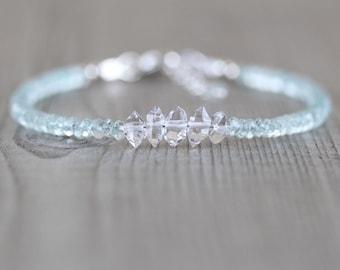 Herkimer Diamond & Aquamarine Bracelet. Sterling Silver, Rose, Gold Filled. Dainty, Delicate Blue Gemstone Slim Stacking Bracelet for Women