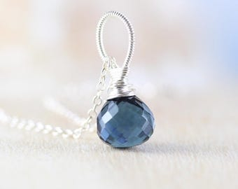 London Blue Topaz Quartz Pendant. Gemstone Necklace Charm Wire Wrapped in Sterling Silver, 18Kt Gold or Rose Gold Filled. Jewelry for Women