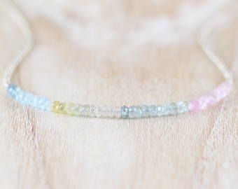 Aquamarine, Morganite, Seed Bead & Sterling Silver Necklace. Ombre Multi Color Gemstone Choker. Dainty Delicate Layering Jewelry for Women