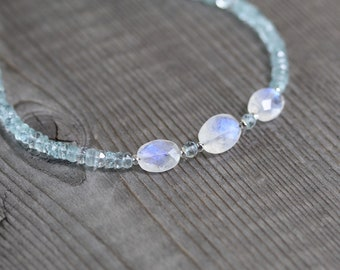 Rainbow Moonstone & Aquamarine Necklace. Sterling Silver, Rose, Gold Filled. Dainty Blue Flash Gemstone Choker. Layering Jewelry for Women