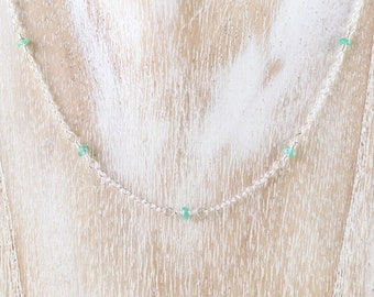Zambian Emerald & Sterling Silver Necklace. Dainty Minimalist Gemstone Choker. Wire Wrapped, Rosary, Delicate Layering Necklace for Women