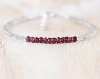 Rhodolite Garnet & Labradorite Bracelet. Sterling Silver, Rose, Gold Filled. Dainty Delicate Pink Red Gemstone Stacking Bracelet for Women