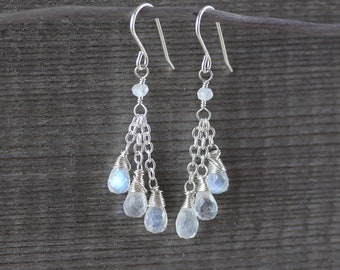 Rainbow Moonstone & Sterling Silver Cluster Earrings. Blue Flash Gemstone Long Beaded Tassel Earrings. Wire Wrapped Boho Jewelry for Women