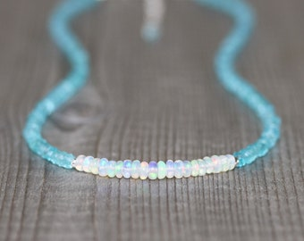 Aqua Apatite & Ethiopian Welo Opal Necklace in Sterling Silver, Gold or Rose Gold Filled, Dainty Beaded Gemstone Choker, Jewelry for Women